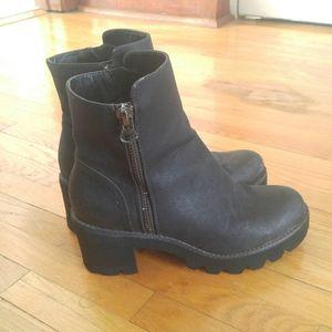 Chunky Black Heeled Boots